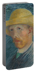 Self-portrait With Straw Hat Portable Battery Charger