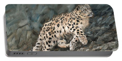 Snow Leopard Portable Battery Charger by David Stribbling
