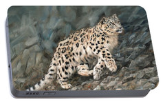 Portable Battery Charger featuring the painting Snow Leopard by David Stribbling