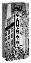 1077 Chicago Theater Black And White Portable Battery Charger