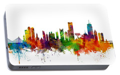 Boston Massachusetts Skyline Portable Battery Charger by Michael Tompsett