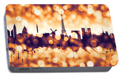 Paris France Skyline Portable Battery Charger by Michael Tompsett