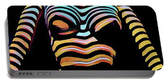 1205s-mak Seated Figure Zebra Striped Nude Rendered In Composition Style Portable Battery Charger