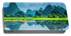 Karst Rural Scenery In Raining Portable Battery Charger