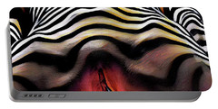 Portable Battery Charger featuring the digital art 1290s-ak Aroused Woman Vulval Portrait Zebra Striped Woman Rendered In Pastel Style by Chris Maher