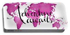 12x16 Adventure Awaits Pink Map Portable Battery Charger