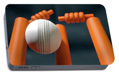 Cricket Ball Hitting Wickets Portable Battery Charger by Allan Swart