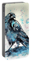 Portable Battery Charger featuring the painting Crow by Kovacs Anna Brigitta