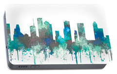 Portable Battery Charger featuring the digital art Houston Texas Skyline by Marlene Watson