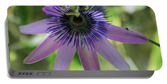 Purple Passiflora Portable Battery Charger by Elvira Ladocki