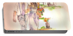 Portable Battery Charger featuring the painting The Wedding Album  by Debbi Saccomanno Chan