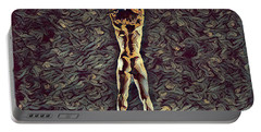 Portable Battery Charger featuring the digital art 1306s-zak Fit Nude Dancer Jumping Up Rendered In The Style Of Antonio Bravo  by Chris Maher