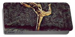 Portable Battery Charger featuring the digital art 1315s-zac Beautiful Nude Dancer Leaping Rendered  In The Style Of Antonio Bravo by Chris Maher