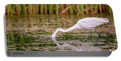 White, Great Egret Portable Battery Charger