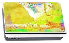Portable Battery Charger featuring the digital art Blue Jay, Animal Portrait by A Gurmankin