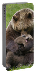 Mother Bear Cuddling Cub Portable Battery Charger by Arterra Picture Library