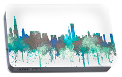 Portable Battery Charger featuring the digital art Chicago Illinois Skyline by Marlene Watson