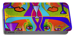 Portable Battery Charger featuring the digital art 1688 - Funny Faces 2017 by Irmgard Schoendorf Welch