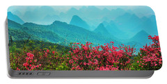 Blossoming Azalea And Mountain Scenery Portable Battery Charger
