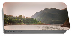 The Mountains And Lake Scenery In Sunset Portable Battery Charger