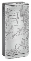1800s Vintage Map Of Newport Ri Rhode Island Black And White Portable Battery Charger