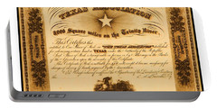 Portable Battery Charger featuring the drawing 1844 Texas Association Stock Certificate For Pioneer Emigration To The Mercer Colony by Peter Gumaer Ogden
