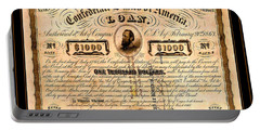 Portable Battery Charger featuring the drawing 1863 Confederate States Of America Loan With Stonewall Jackson Portrait Issued At Houston by Peter Gumaer Ogden