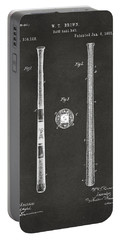 1885 Baseball Bat Patent Artwork - Gray Portable Battery Charger by Nikki Marie Smith