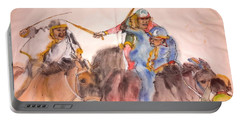 Portable Battery Charger featuring the painting Il Palio Contrada  Lupa Album by Debbi Saccomanno Chan