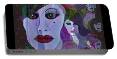 1909 Faces Fractal - 2017 Portable Battery Charger by Irmgard Schoendorf Welch