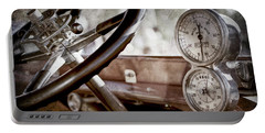 Portable Battery Charger featuring the photograph 1914 Rolls-royce 40 50 Silver Ghost Landaulette Steering Wheel -0795ac by Jill Reger