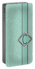 1920s Blue Deco Jazz Swing Monogram ...letter C Portable Battery Charger