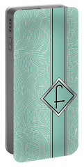 1920s Blue Deco Jazz Swing Monogram ...letter F Portable Battery Charger