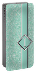 1920s Blue Deco Jazz Swing Monogram ...letter I Portable Battery Charger