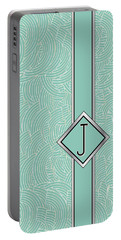 1920s Blue Deco Jazz Swing Monogram ...letter J Portable Battery Charger