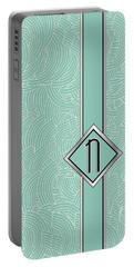 1920s Blue Deco Jazz Swing Monogram ...letter N Portable Battery Charger