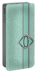 1920s Blue Deco Jazz Swing Monogram ...letter O Portable Battery Charger