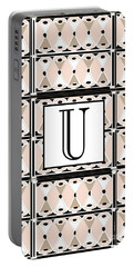 1920s Pink Champagne Deco Monogram  U Portable Battery Charger