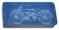 Portable Battery Charger featuring the digital art 1924 Harley Motorcycle Patent Artwork Blueprint by Nikki Marie Smith
