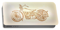 1928 Harley Davidson Motorcycle Graphite Pencil - Sepia Portable Battery Charger by Scott D Van Osdol