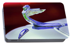 Portable Battery Charger featuring the photograph 1933 Plymouth Hood Ornament -0121rc by Jill Reger
