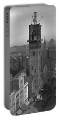 Portable Battery Charger featuring the photograph 1935 Back Bay Construction, Boston by Historic Image