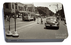 Portable Battery Charger featuring the photograph 1940's Inwood Trolley by Cole Thompson