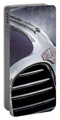 Portable Battery Charger featuring the photograph 1947 Delahaye Emblem -1477ac by Jill Reger