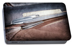 Portable Battery Charger featuring the photograph 1948 Chevrolet Hood Ornament -0587ac by Jill Reger