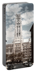 1950 Riverside Church And Old Cars Portable Battery Charger