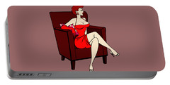 1950s Cartoon Pinup Girl Portable Battery Charger