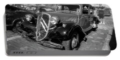 Portable Battery Charger featuring the photograph 1953 Citroen Traction Avant Bw by Rich Franco