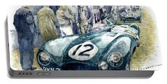 1954 Le Mans 24 Jaguar D Type Short Nose Stirling Moss Peter Walker  Portable Battery Charger