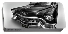 Portable Battery Charger featuring the photograph 1955 Cadillac Black And White by Gill Billington